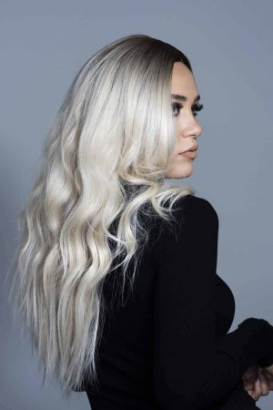 long blonde wavy synthetic hair wig