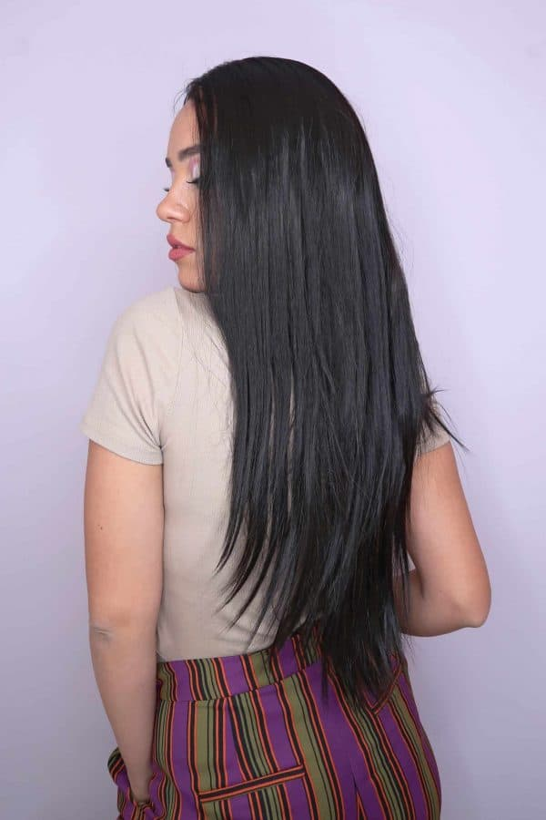 synthetic hair wig straight brunette brunette long lace front VIP